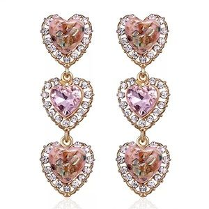 Gold Pink Rhinestone Triple Heart Dangling